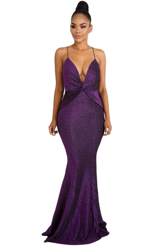 Elegant Her Fashion Purple Shine Twist V-neckline Maxi Dress