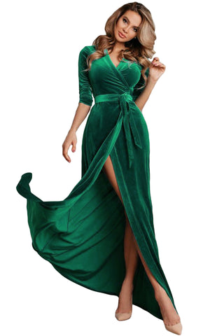Elegant Her Fashion Turquoise Surplice V Neck Velvet Party Gown With Belt