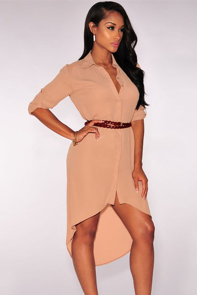 Elegant High Low Silhouette Belted Shirt Dress