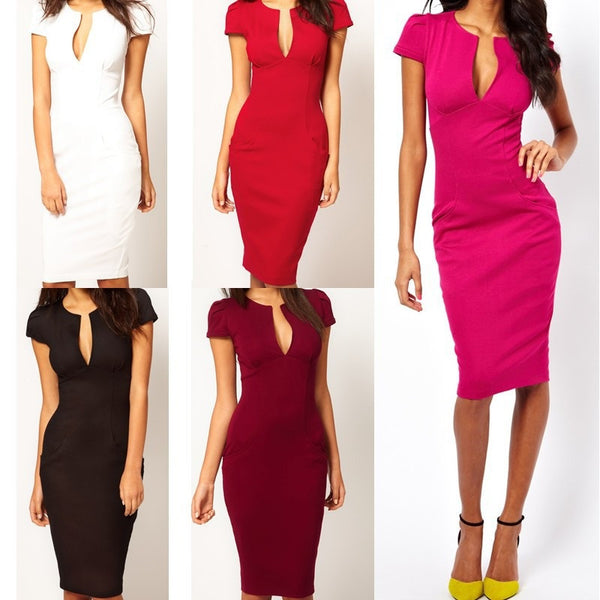 """Trendy Series"" All Purpose V-Neck Pencil Cut with Pocket Slim Dress"