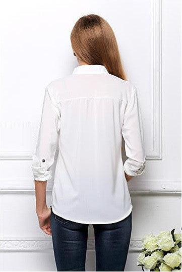"Elegant Long Sleeve ""Lilly"" Chiffon Woman Shirt White 2015 New Arrival"