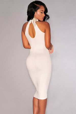 Elegant Mock Neck Racer Style Midi Dress