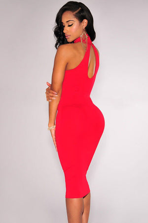 Elegant Mock Neck Racer Style Red Midi Dress