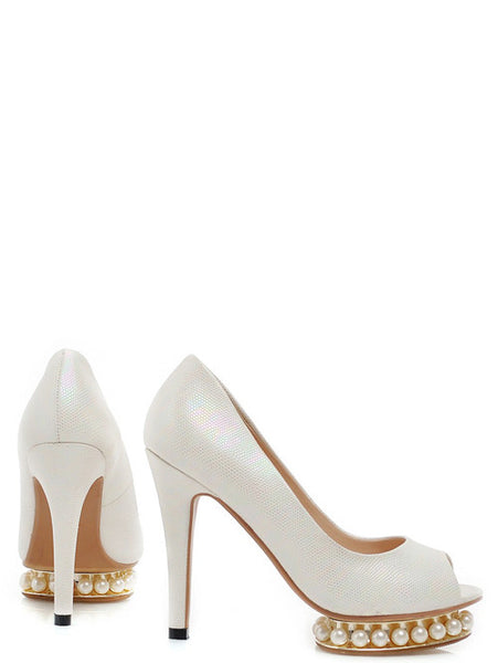 Elegant Pearls Slim Heel Solid Peep Toe Pumps