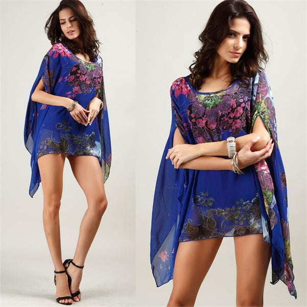 Elegant Print Chiffon Dress With Sweeping Bat Sleeves Mini Dress