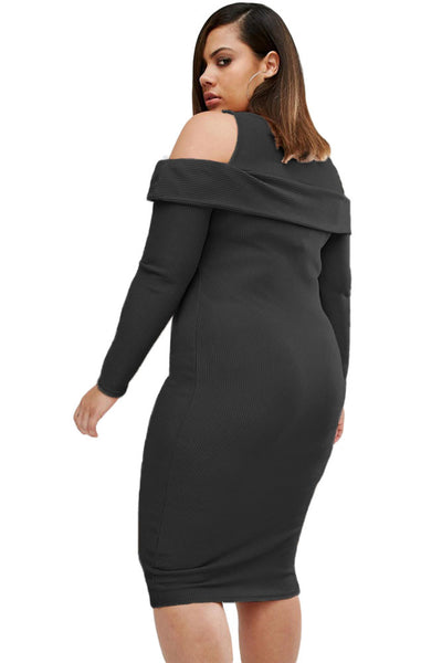 Elegant Ribbed Texture Cold Shoulder Stretch Fabric Black Plus Size Dress