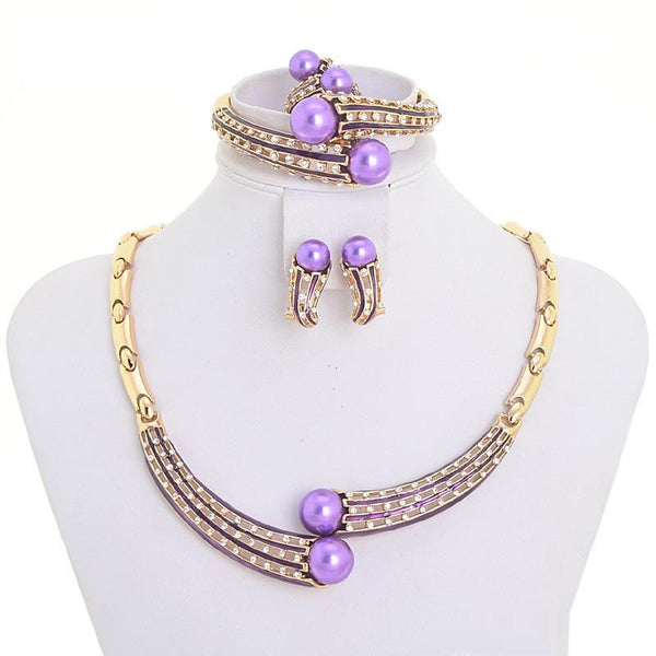 """Elegant Series""18K  Handmade Chunky Gold Plated Purple Pearl Fashion Jewelry"