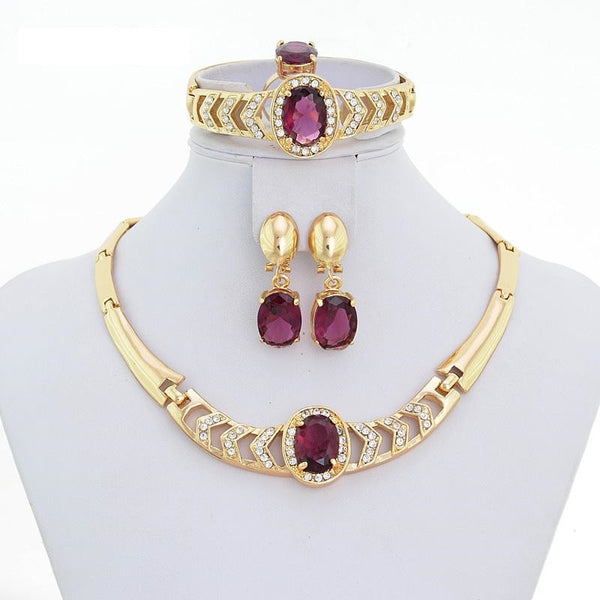 """Elegant Series"" 18k Gold Plated Dubai Fashion Jewelry Set"