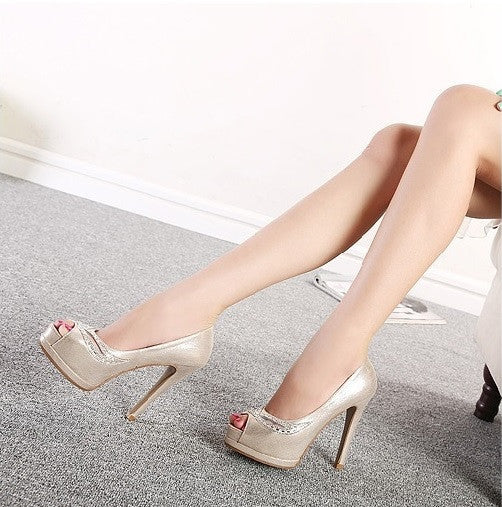"""Elegant Series"" Exquisite Silver Gold Crystal High Heels Pumps Shoes"