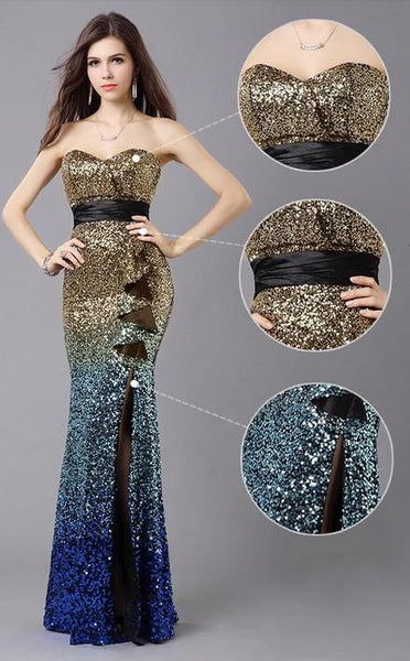 """Elegant Series"" Fishtail Long Evening Backless Crystal/Beading Mermaid Gown / Prom Dress"