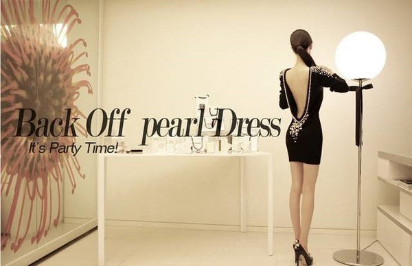 """Elegant  Series""  One-piece Big Racerback Pearl Inlaying Ladies Slim Hip Dress"