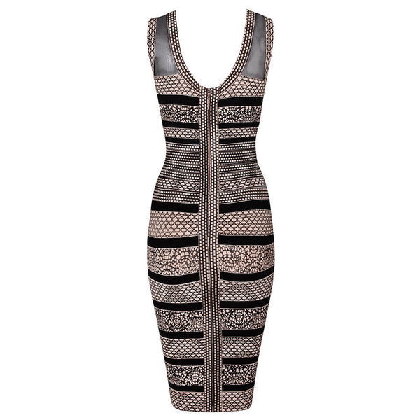 """Elegant Series"" Rayon Bandage Ancient  Print Bodycon Evening Dress"