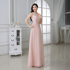 """Elegant Series"" Sheer O-Neck Straps Backless Sleeveless Lace Evening / Prom Dress"