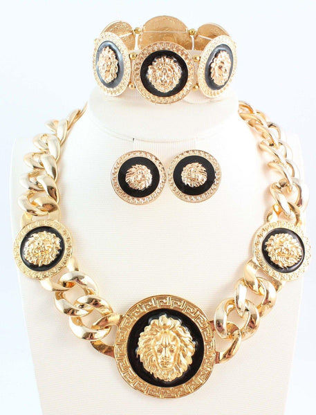 """Elegant Series"" Thick Black Enamel Lion Head Statement Jewelry Sets"