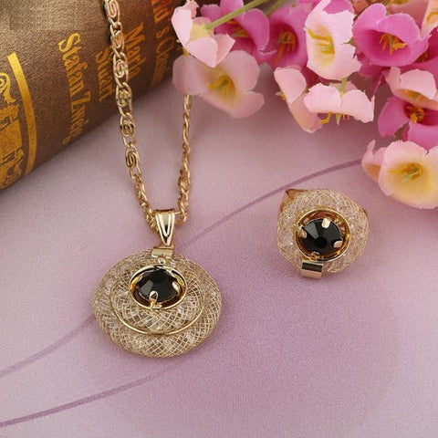 """Elegant Series"" Unique Charming Gold Plated Pendant Jewelry Set"