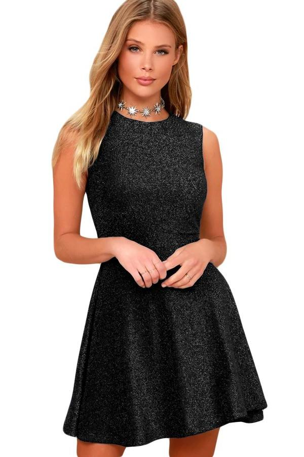 Elegant Shimmering Her Fashion Black Sleeveless Skater Dress