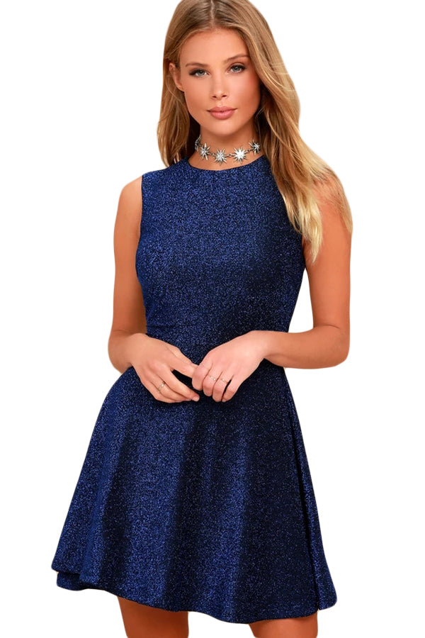 Elegant Shimmering Her Fashion Blue Sleeveless Skater Dress