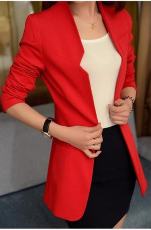 "Elegant Slim Blazer Medium-Long Single Breasted ""Mod Series"""