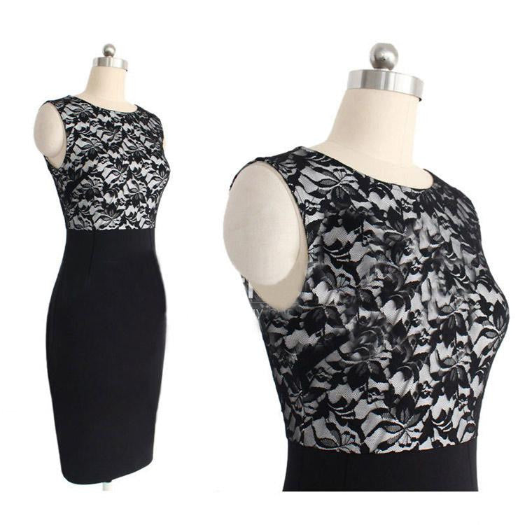 Elegant Slim Sleeveless Lace Dress Stitching Knee Length Party Black Pencil Body
