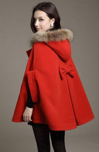 Elegant Style Fur Hooded Cape with Bat sleeves Winter Collection