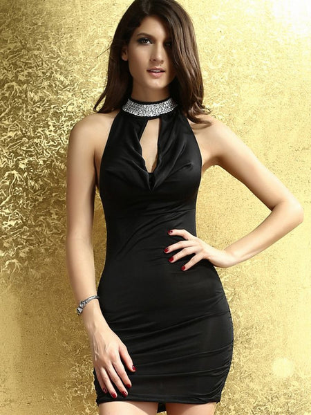 Elegant Trendy Slim Sleeveless Rhinestone Dress