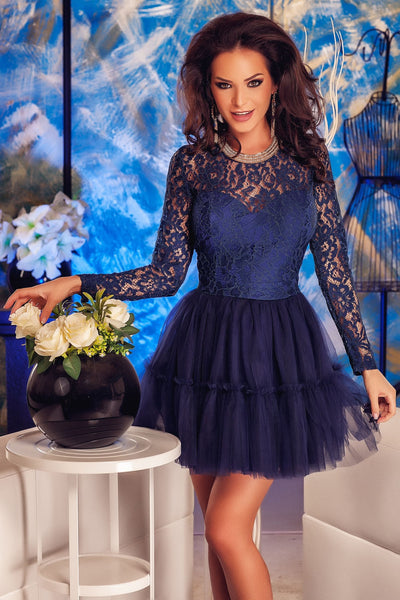 Elegant Tutu Flared Navy Lace Babydoll Skater Women Dress