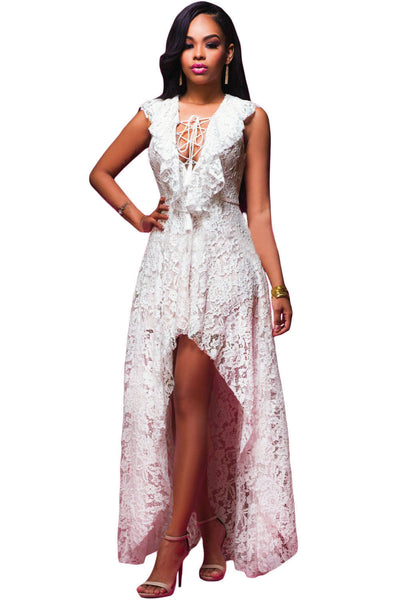 Elegant White Lace High Low Stunning Floral Print Design Maxi Dress