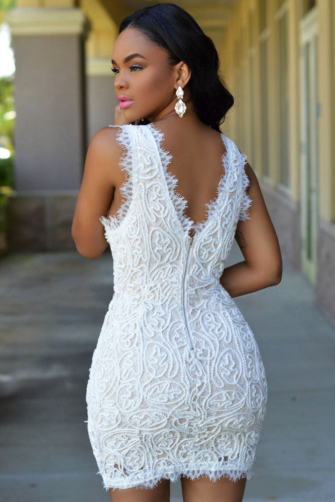 Elegant White Plunge V Neck Exquisite Lace Crochet Mini Dress