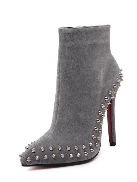 Elegant Women High Heel Sexy Point Toe Ankle Women Boot Zipper Rivet Shoes