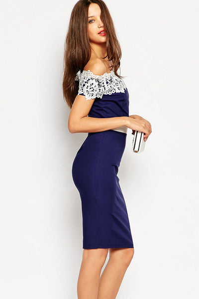 Embroidered Lace Off Shoulder Midi Pencil Dress