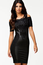 Embroidered Lace Slash Neck  Mini Women Dress