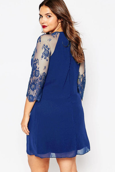 Embroidered Lone Sleeves Curvaceous Chiffon Shift Dress