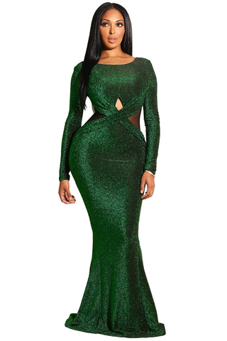 Emerald Sexy Long Sleeves Maxi Her Fashion Bodycon Evening Gown Dress