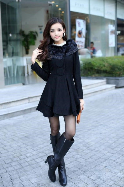 """Europa"" Elegant Essence Women's Outwear Rabbit Fur Collar Coat"