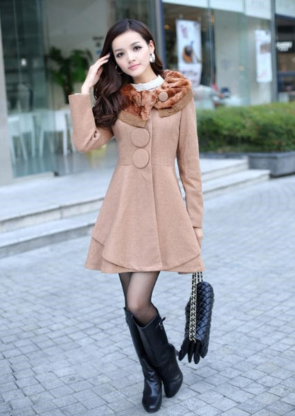 """Europa"" Elegant Essence Women's Outerwear Rabbit Fur Collar Coat (2015 Collection)"