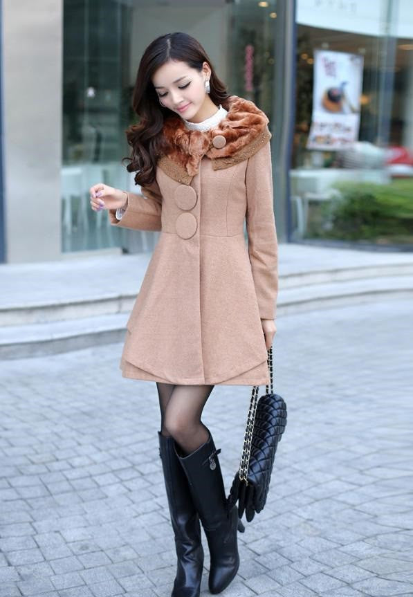 """Europa"" Elegant Essence Women's Outerwear Rabbit Fur Collar Coat"