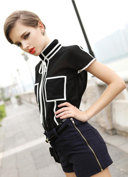 European Style Chiffon Short Sleeve Stand Up Collar Black White Shirt / Blouse