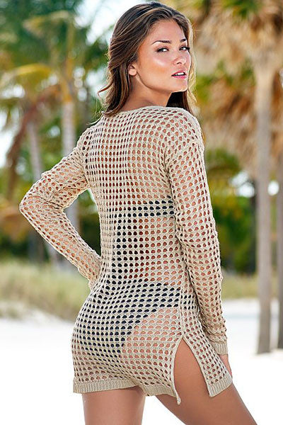 Exquisite Apricot HerFashion Sexy Handmade Crochet Cover-up