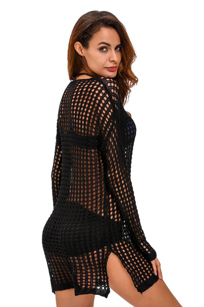 Exquisite Black HerFashion Sexy Handmade Crochet Cover-up