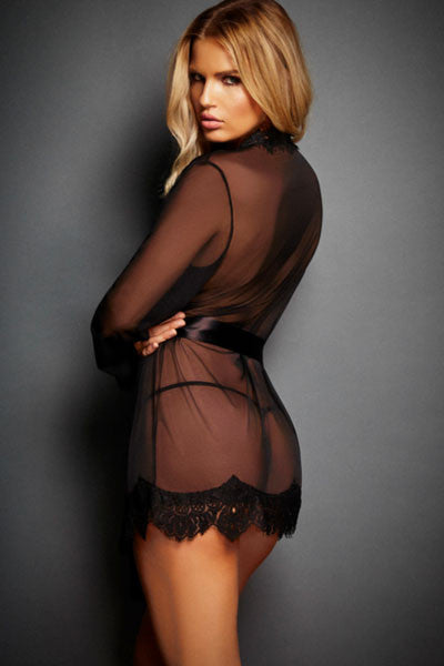 Extremely Sleek HerFashion Black Lace Trim Robe with Thong
