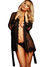 Extremely Sleek HerFashion Pink Lace Trim Robe with Thong