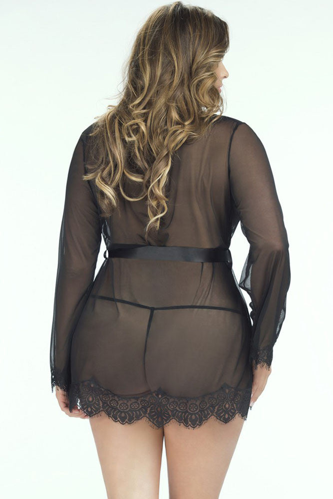 Extremely Sleek Plus Size HerFashion Black Lace Trim Robe with Thong