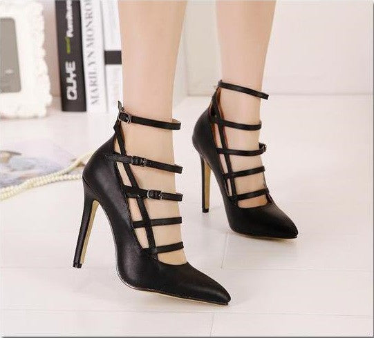 "Fashion Belt Buckle Pointed Toe High Heels Pumps Shoes ""Chic Series"""