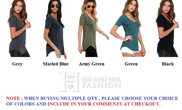 Fabulous V Neck Short Sleeves Green Summer Classic Basic T-Shirt