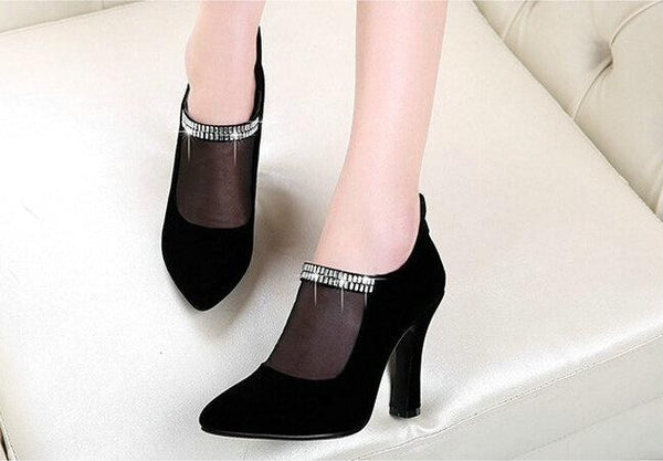 Fashion 2015 High Hoof Heels Pointed Toe Mesh Pumps Sexy Elegant Rhinestone Cut-out Mesh Womens Shoes
