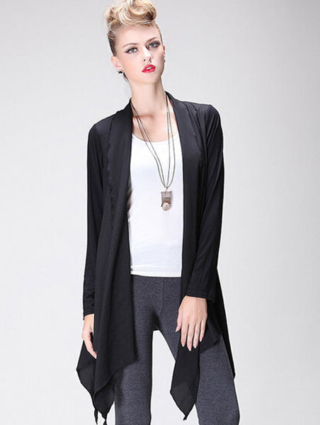 Fashion Button Free Irregular Design Long Cardigan