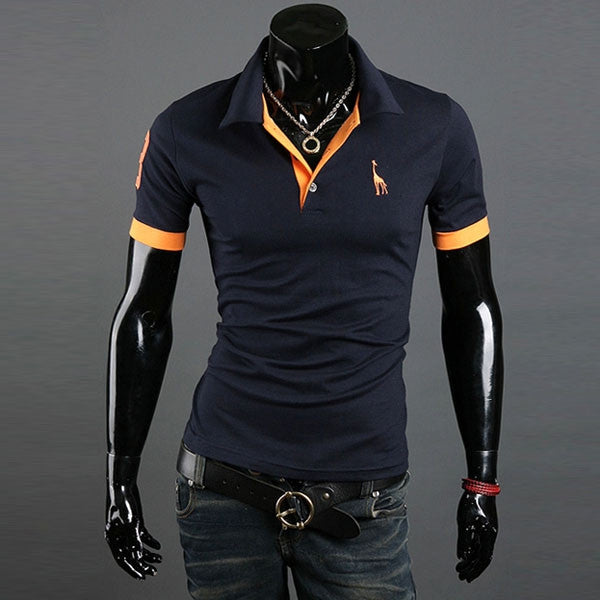 Fashion Slim Men Polo Shirt Trendy Two Color Pattern