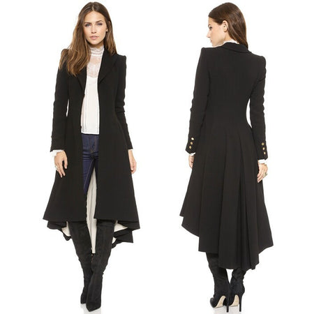 Chic Turn-down Collar Slim X-Long Trench Coat Winter Woollen Coat