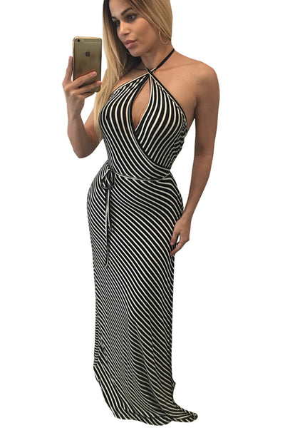 Fashionable But Simple Contrast Stripes Wrapped Halter Her Maxi Dress