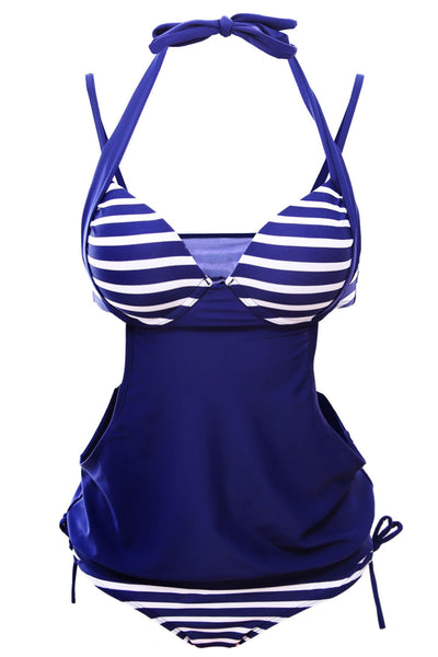 Fashionable Navy Bicolor Stripes Halter Stylish Tankini Her Swimsuit